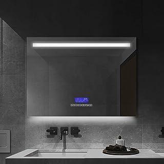 Janboe Miroir de salle de bain LED avec éclairage 6400 K, 80 x 60 cm, miroir de maquillage mural avec anti-buée, haut-parl...