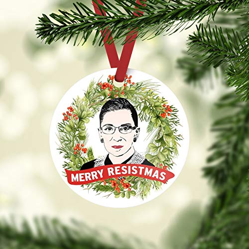 PotteLove RBG Merry Resistmas Christmas Ornament - The Notorious RBG Ruth Bader Ginsburg Christmas Ornament,Custom with Any Name and Date Porcelain Ornament