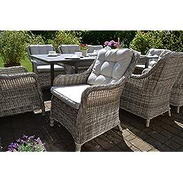 Bomey Como Ensemble de 6 fauteuils de jardin en rotin avec coussins et coussins Beige I Fauteuil de jardin 6 pièces