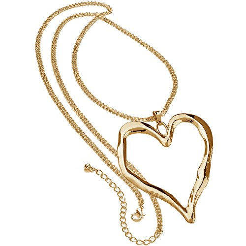 Unique Gifts On The Web Ladies Gold Plated Long Chain Very Large Chunky Heart Pendant Fashion Jewellery Necklace