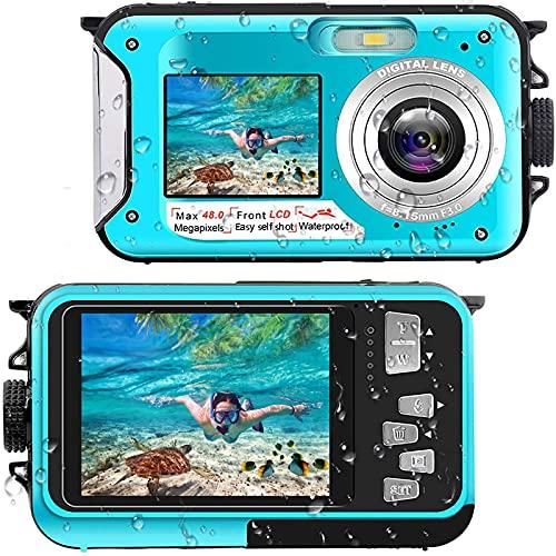 Unterwasserkamera Full HD 2.7K 48MP 10FT Kamera Wasserdicht Dual Screen 16X Digital Zoom Schnorcheln wasserdichte Digitalkamera für Selbstauslöser Unterwasser, Schwimmen, Urlaub
