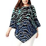 Alfani Womens Plus Zebra Printed Pointed Hem Blouse, Chic Zebra, 1X
