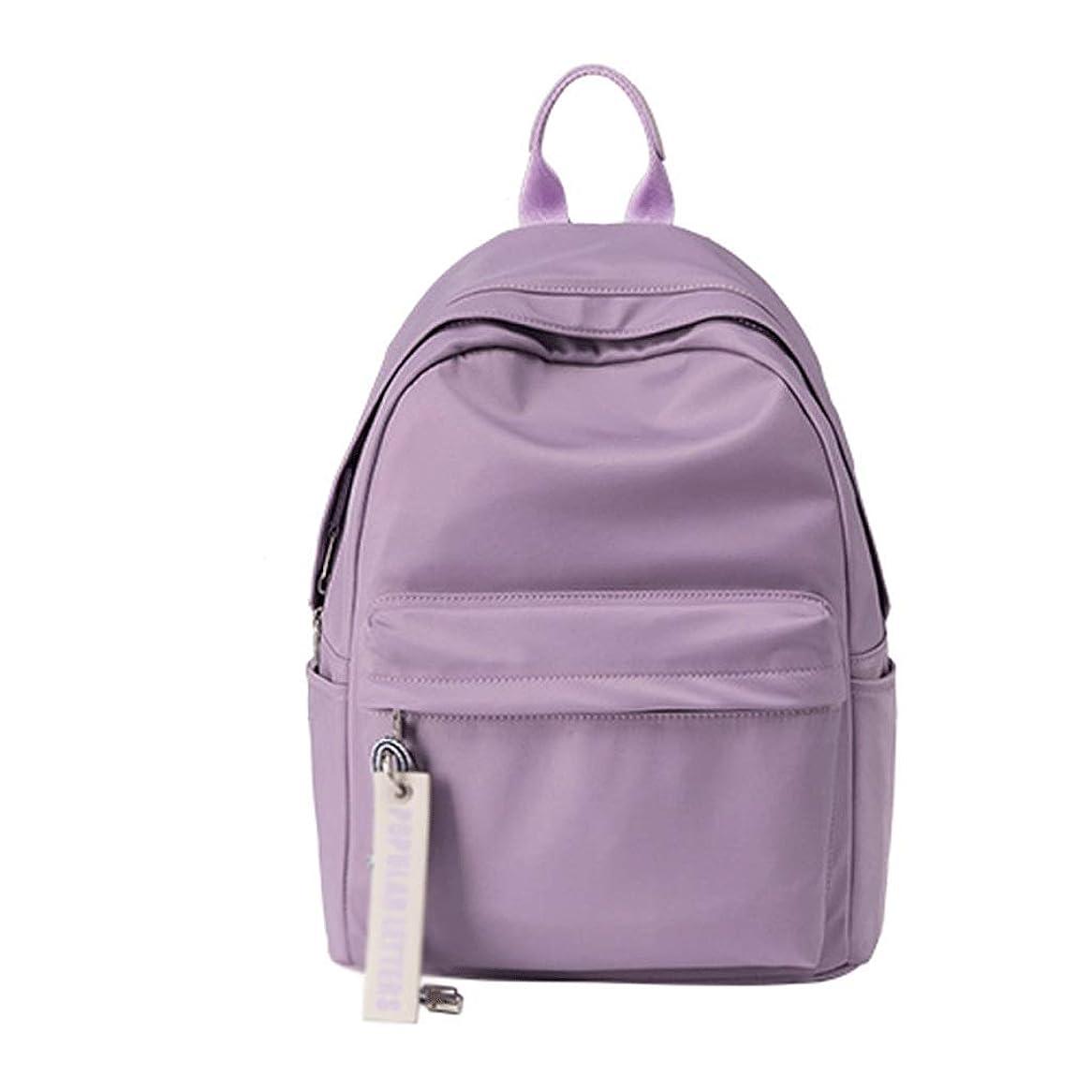 突っ込むアストロラーベサーバスクールバックパック シンプルなダブルショルダーバックパック旅行ショッピングナイロンバックパックの中学生バッグ韓国語版 ボーイガールズスクールバッグ (Color : Purple)