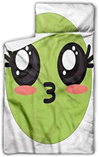 """Ahuimin Microfiber Nap Mat with Pillow for Toddler Boys and Girls, Kawaii,Anime Eyes Cartoon, 43"""" x 21"""" Perfect Size for Daycare and Preschool"""