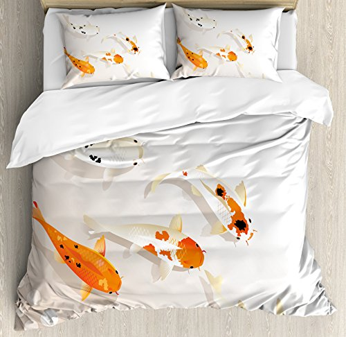 Océano Animal Decor juego de funda nórdica por Ambesonne, tradicional asiáticos sagrado lunares carpas Koi Oriental signo de amor Zen, juego de cama con almohada decorativa, color naranja y beige