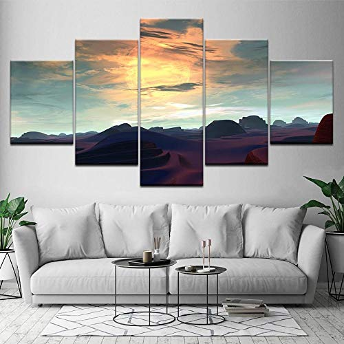 GUANGWEI 5 Piezas Lienzo Pintura Moderna Etiqueta De La Pared Sierras Pintura De Arte De Impresión HD Y Decoración del Hogar Decoración De Muebles Pintura De Arte De Pared 3D