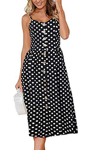 Angashion Women's Dresses-Summer Floral Bohemian Spaghetti Strap Button Down Swing Midi Dress with Pockets 020 Black XL