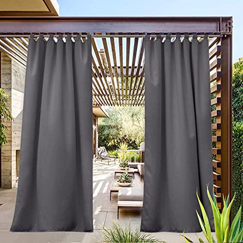 PONY DANCE Sonnenschutz Gardinen für Balkon - Outdoor Vorhang für Gartenlaube & Terrasse Thermo Gardinen Mehltaubeständig Schlaufenschal, 1 Stück H 213 x B 132 cm, Grau-weiß