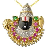 TriJewels Ruby,Emerald and Diamond Lord Balaji Pendant 0.50 ctw 14K Yellow Gold with 14K Yellow Gold Chain
