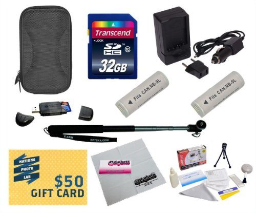 47th Street Photo Best Value Point & Shoot Ultimate Accessory Kit for Canon PowerShot Elph 510, SD450 Digital Camera Includes 2 Extended Replacement NB-9L Battery + AC/DC Travel Charger + Self Portrait Monopod + Mini tripod + 32GB Transcend High Speed Error Free SDHC Memory Card + USB 2.0 Card Reader + Deluxe Carrying Case + Screen Protectors Photo Print ! Deluxe Cleaning Kit + More