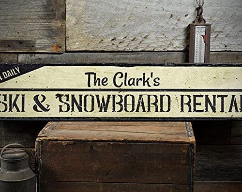 free brand Letrero de madera para alquiler de esquís y tablas de snowboard, decoración rústica hecha a mano vintage de madera
