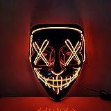 USCVIS Halloween LED Máscaras, Adultos LED Mask Craneo Esqueleto Mascaras para la Fiesta de Disfraces, la Navidad, Cosplay Grimace Festival Party Show (Rojo)