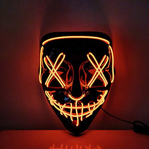 USCVIS Halloween LED Maschera, Leggero Divertente Maschere Grande Festival Cosplay Costume Supplies Festa Maschere Si Illuminano al Buio (Rossa)