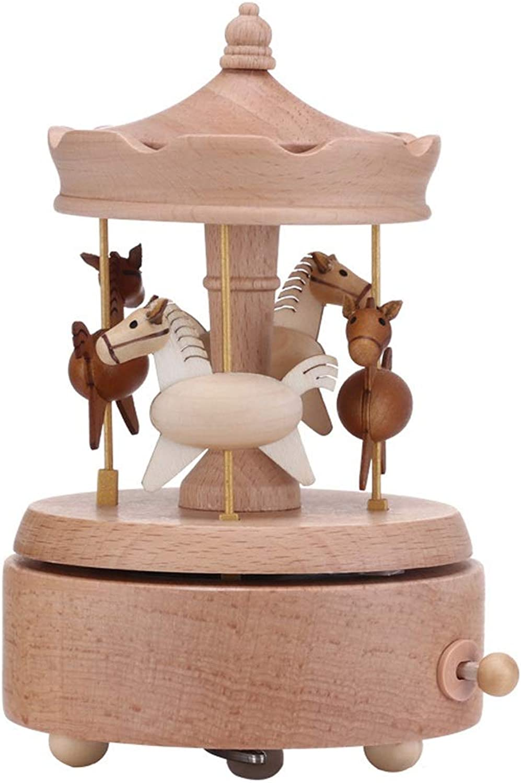 SKKMALL Wooden Music Box redary Horse Birthday Gift