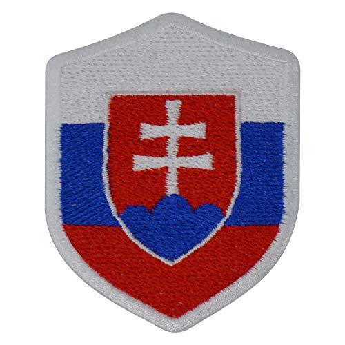 benobler FanShirts4u Aufnäher - SLOWAKEI - Wappen - 7 x 5,6cm - Bestickt Flagge Patch Badge Fahne Slovakia (weiße Umrandung)