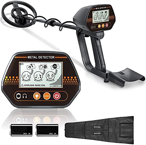 Detector de Metales, 3 Tono de Audio y Modo Disco, con LCD Pantalla Retroiluminada Grande, Ajuste de Altitud(60-90 cm), Indicador de Batería, Impermeable y Bolsa de Transporte