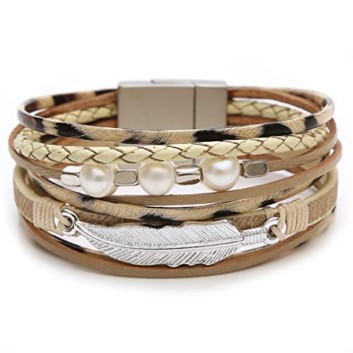 AZORA - Pulsera de cuero con cierre magnético para mujer, regalo bohemio para amigos, adolescentes, niñas y mujeres