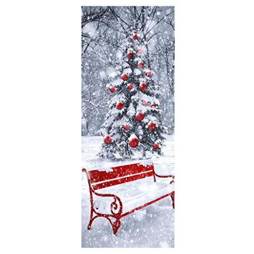 Shan-S Christmas Creative Door Stickers,Christmas Tree Santa Claus Holiday Removable Door Covers...