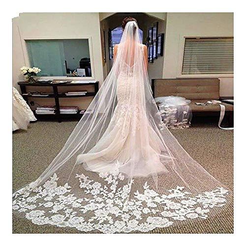 3M 5M One Layer Lace Edge Weiß Elfenbein Catherdal Brautschleier Lange Brautschleier Günstige Hochzeit Zubehör Schleier (Color : Ivory, Item Length : 500cm)