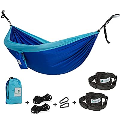 Towering Tree- Hammock and Strong Straps Set Double Camping Travel packed in small bag- Parachute Silk Fabric