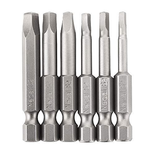 Rocaris 6 pcs 1/4 Inch Hex Shank Long Magnetic Square Head Screwdriver Bits Set Power Tools SQ1, SQ2, SQ2.7, SQ3, SQ4, SQ5 For Poket Hole Jig- 2 inch Length