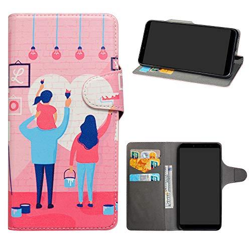 HHDY Xiaomi Redmi S2 Funda, Diseño PU Cuero Libro Soporte Plegable y Ranuras para Tarjetas Dibujos Caso Cover para Xiaomi Redmi S2 / Redmi Y2,Family