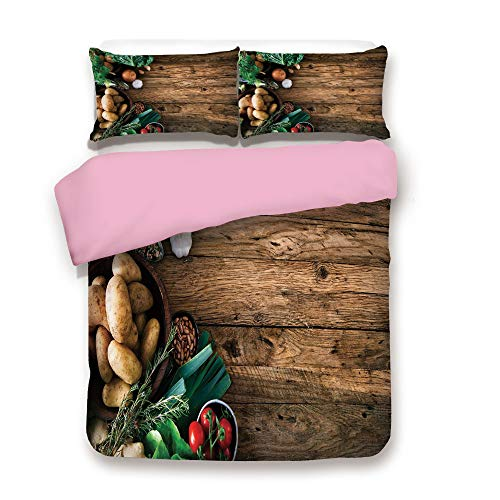 Pink 3pc Bedding Set,Vegetables on Wooden Table Healthy Options Organic Food Herbs and Spices Seasonal Twin Size Duvet Cover Set,Printed Comforter Cover with 2 Pillowcases for Women & Girls