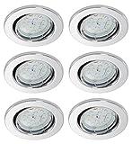Trango Paquete de 6 Proyectores empotrables LED ultra planos, luces empotradas, lámpara de techo TG6729-068MOSD en cromo, módulo LED 6x regulable solo luz empotrada en el techo de 30 mm