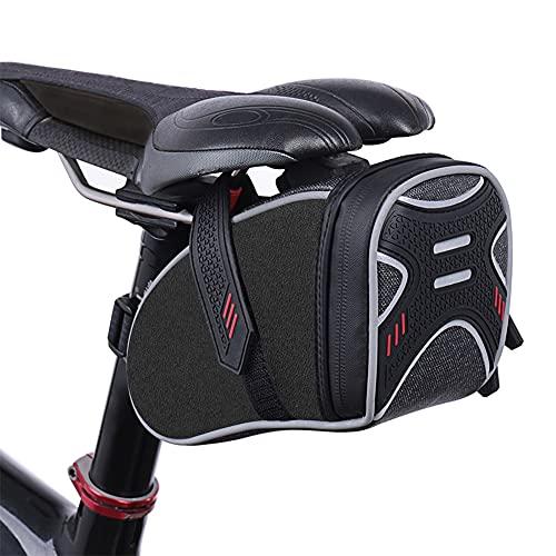 ROTTO Satteltasche Fahrrad Sattel Tasche für Mountainbike Rennrad Wasserdichter Reißverschluss (Schwarz)