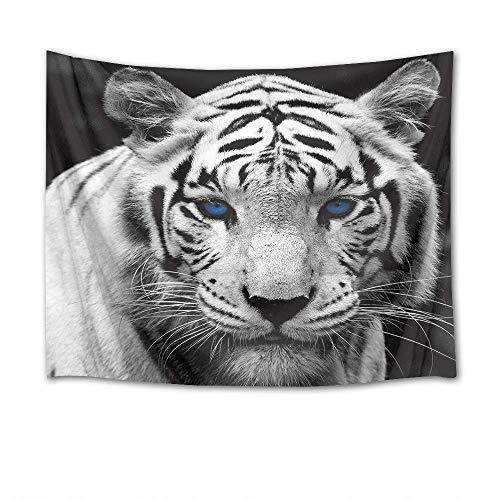 Tapiz de tigre salvaje depredador con ojos azules para colgar en la pared, tapiz de animales para colgar en la sala de estar, dormitorio
