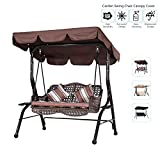 Iptienda Patio Canopy Swing,Outdoor 2-Seater Canopy Swing Replacement Cover, Swing Chair Awning Replacement, Anti-UV Waterproof for Outdoor Garden Lawn Bench Coffee(56x47x7 Inch)