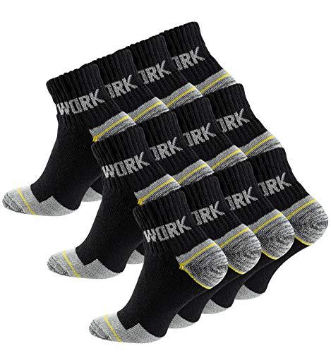 Cotton Prime 12 Paar Herren Kurzschaft-Arbeitssocken - Robuste Atmungsaktive Work Socks -...