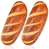 2 Pieces 16 Inch 3D Simulation Bread Pillows, Bread Plush Baguette Pillow Bread ShapeStuffed Plush Funny Burrito Pillows Soft Butter Toast Bread Food Stuffed Toy for Office Home Cushions Decoration