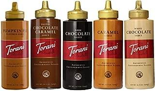 Torani 16.5oz 5-pack Sampler, Pumpkin Pie, Salted Chocolate Caramel, Chocolate, Caramel & White Chocolate Sauces
