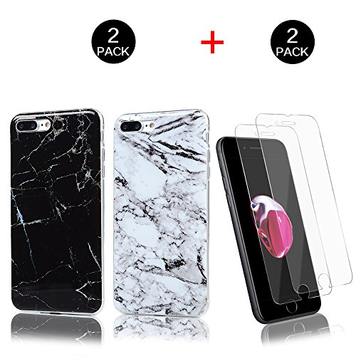 KASOS iphone 7 Plus / iphone 8 Plus 5.5 Pouces, Marbre Motif Souple Doux TPU Coque Silicone Étui de Protection Bumper Mince Gel Cover Case - Noir * Blanc + Film Protection en verre Trempé