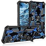 Compatible con Samsung Galaxy A12 funda con soporte, diseño de camuflaje original, carcasa rígida de policarbonato de silicona, híbrida [con soporte magnético] (azul oscuro)