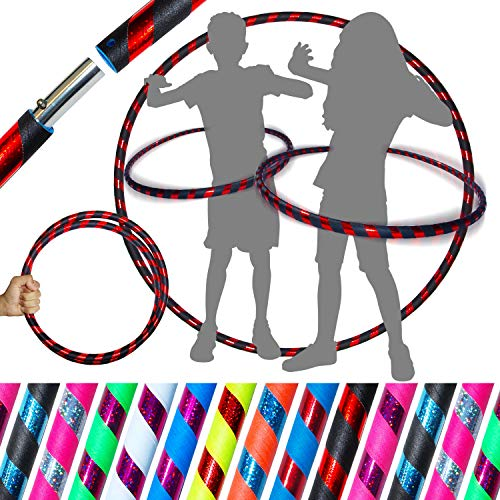 Pro KIDS HULA HOOP Reifen für Kleine Erwachsene und Kinder (10 Farben Ultra-Grip/Glitter Deco) Faltbarer TRAVEL Hula Hoop ideal für Hoop Dance, Fitness Training, Zirkus! (Schwarz / Rot Glitter)