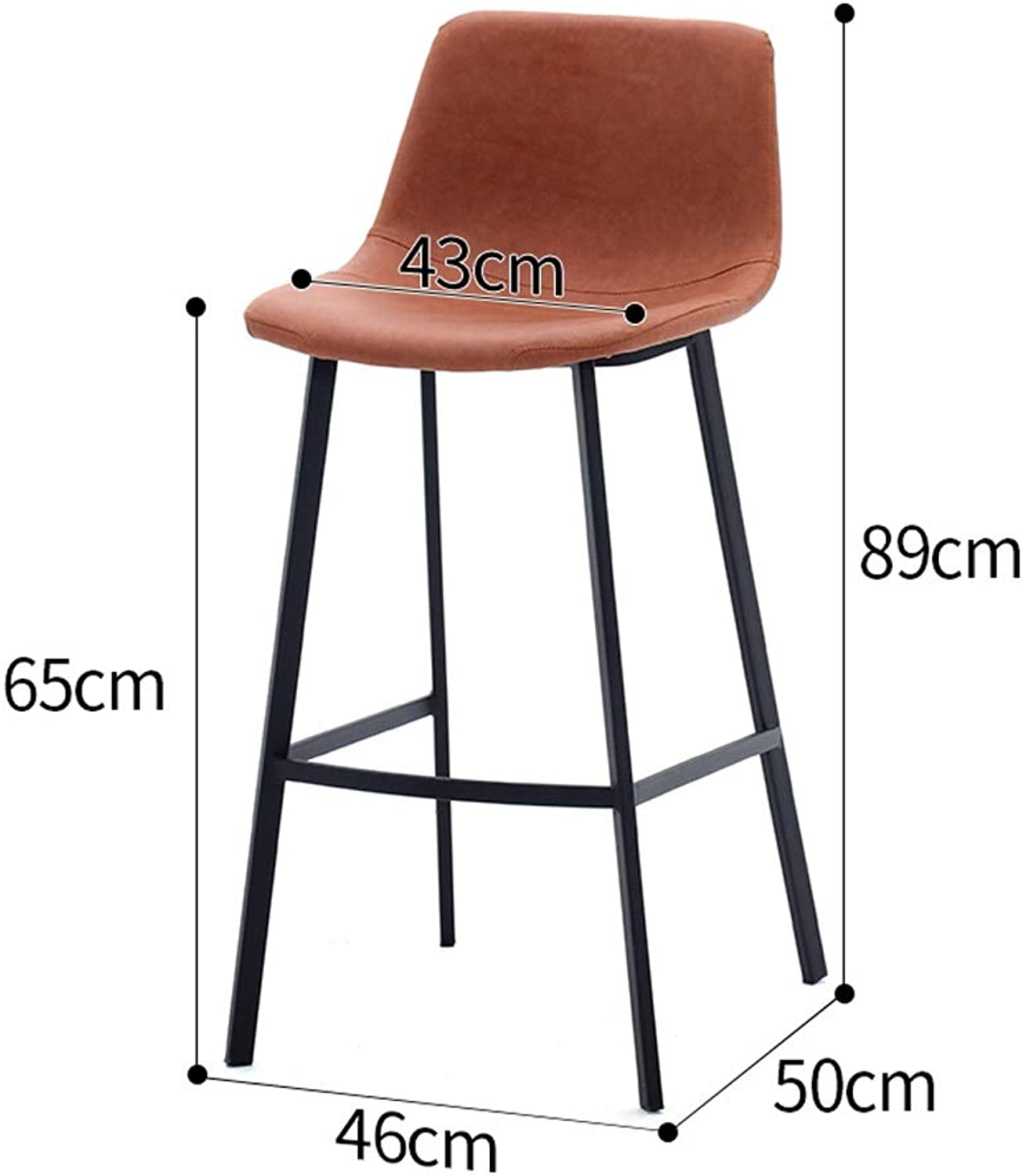 Retro Iron Art Coffee Chair Counter Stool Leather bar Chair bar Stool Suitable for Coffee Shop Living Room Club SUGEWANJBD (color   Brown, Size   65CM)