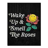 やる気を起こさせるキャンバスの絵画が目を覚まし、バラの起業家の引用を嗅ぐ家の装飾のためのキャンバスにキャンバスの壁のアートプリント-60x90cmx1フレームなし