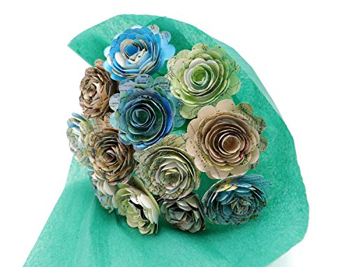 Scalloped World Atlas Map Rose Bouquet One Dozen 1.5 Inch Paper Flowers on Stems Travel Theme Centerpiece