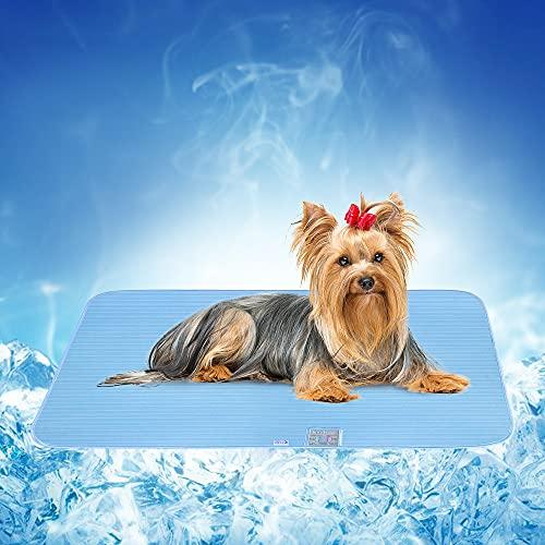 Alfombra Refrescante para Perros Gatos, Luxear Alfombrilla Refrescante para Mascotas Desodorante Antibacterianas Antimoho Antiácaros 50x75cm ARC-Chill Q-MAX>0,4 Colchonetas Camas para Perro, Azul