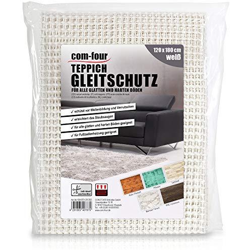 com-four® Antirutschmatte für den Teppich - Teppichunterlage 180x120 cm - Teppichstopper - rutschfeste Matte in weiß - Schubladenmatte