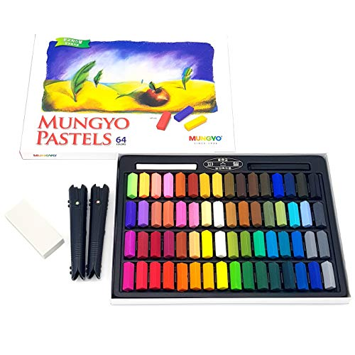Non Toxic Mungyo Soft Pastels Set of 64 with Drawing Materials (Pastel Holder, Eraser)