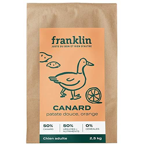 Franklin - Grain-free kibbles - Adult dog - 100% natural - Food allergies - Optimal digestion - Duck. Sweet potato. Orange - 2.5kg