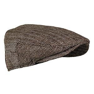 Wonderful Fashion Men's Classic Herringbone Tweed Wool Blend Newsboy IVY Hat (Brown, LXL)