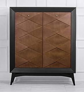 Casa Padrino Cajonera neoclásica Negro/marrón 120 x H143 cm - aparador Muebles Art Deco