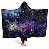 HATESAH Manta con Capucha,Rosa Espacio Acuarela Cielo Estrellado Nebulosa Cosmos Amarillo Naturaleza Universo Azul Estelar Galaxia Exterior Polvo,Suave Siesta ponible Mantas de Viaje50x40