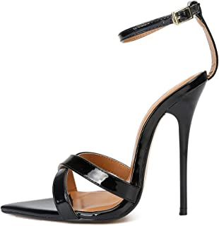 Stiletto sandalen voor dames, grote open hiel met gekruiste bandjes 13 cm hoog en metalen enkelbandje met gesp Hoge hakken...