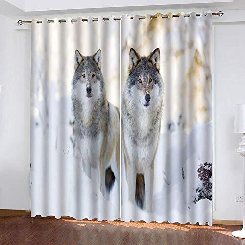 MENGBB Cortina Opaca Microfibra Infantil 280x260cm Dos Animales Lobos en la Nieve. 95% Opaca Cortina aislantes de frío y Calor Decorativa con Ojales Estilo para Salón Habitación y Dormitorio