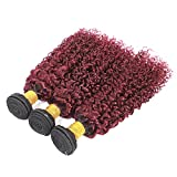 Feelgrace (Fast Delivery) Ombre Bundles Kinky Curly Hair 3 Pieces for Women 1B/99J Wet and Wavy Human Hair Weave Bundles from Unprocessed Brazilian Remy Hair (18 20 22 inch)